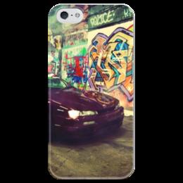 """Чехол для iPhone 5 глянцевый, с полной запечаткой """"Дрифтинг"""" - drift, дрифт, дрифтинг"""