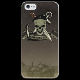 """Чехол для iPhone 5 глянцевый, с полной запечаткой """"МОРСКАЯ ПЕХОТА!!!"""" - якорь, нож, морская пехота, чёрный берет, бтр"""
