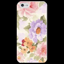 """Чехол для iPhone 5 глянцевый, с полной запечаткой """"Цветы """" - стиль, нежность, pastel"""