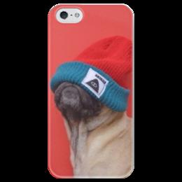 """Чехол для iPhone 5 глянцевый, с полной запечаткой """"Мопс в шапке"""" - pug, мопс, мопсик, мопс в шапке"""