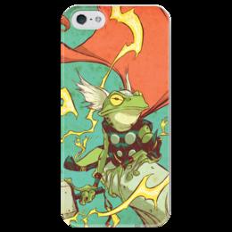"""Чехол для iPhone 5 глянцевый, с полной запечаткой """"Comics Art Series: Тор"""" - рисунок, супергерои, марвел, superhero, тор"""