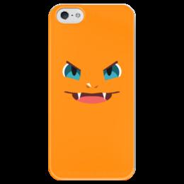 """Чехол для iPhone 5 глянцевый, с полной запечаткой """"Чермандер"""" - pokemon, покемон, чермандер"""