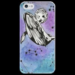 """Чехол для iPhone 5 глянцевый, с полной запечаткой """"небесный кит"""" - звезды, космос, луна, акварель, кит"""