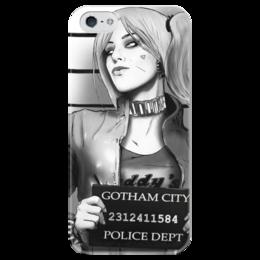 """Чехол для iPhone 5 глянцевый, с полной запечаткой """"Харли Квинн"""" - комиксы, бэтмен, harley quinn, отряд самоубийц, suicide squad"""