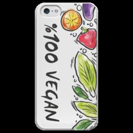 """Чехол для iPhone 5 глянцевый, с полной запечаткой """"100% Vegan"""" - веган, природа, этика, vegan, go vegan"""