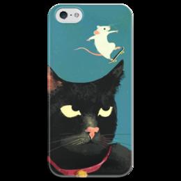 "Чехол для iPhone 5 глянцевый, с полной запечаткой ""mouse fun"" - кот, скейт, мышь, mouse, cat"