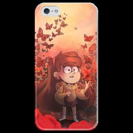 """Чехол для iPhone 5 глянцевый, с полной запечаткой """"Гравити Фолз"""" - бабочки, gravity falls, гравити фолз, мейбл"""