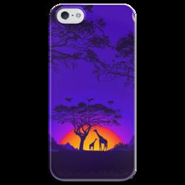 """Чехол для iPhone 5 глянцевый, с полной запечаткой """"Жирафы"""" - закат, жирафы, африка"""