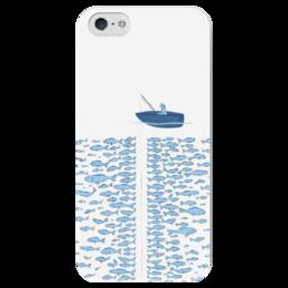 """Чехол для iPhone 5 глянцевый, с полной запечаткой """"Поймай,если сможешь"""" - арт, вода, рыбы, рыбак, лодка"""