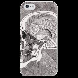 """Чехол для iPhone 5 глянцевый, с полной запечаткой """"Череп"""" - skull, череп, линии, stripes"""