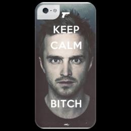 "Чехол для iPhone 5 глянцевый, с полной запечаткой ""KEEP CALM BREAKING BAD"" - во все тяжкие, keep calm, breaking bad, pinkman, джесси пинкман, jessie"