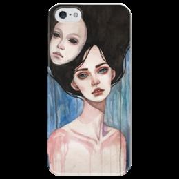 """Чехол для iPhone 5 глянцевый, с полной запечаткой """"Маска"""" - девушка, mask, маска, дождь"""