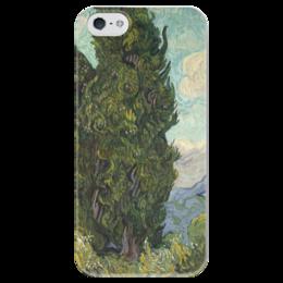 """Чехол для iPhone 5 глянцевый, с полной запечаткой """"Кипарисы (Cypresses)"""" - картина, ван гог"""