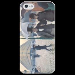 """Чехол для iPhone 5 глянцевый, с полной запечаткой """"Парижская улица в дождливую погоду"""" - картина, кайботт"""