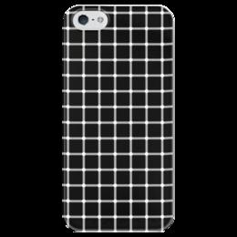 """Чехол для iPhone 5 глянцевый, с полной запечаткой """"Чёрная клетка"""" - иллюзия, оптика, чёрная клетка"""