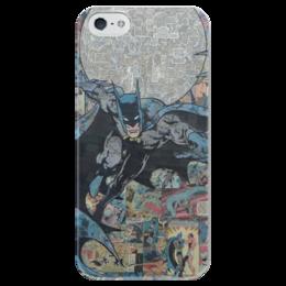 """Чехол для iPhone 5 глянцевый, с полной запечаткой """"Бэтмен"""" - комиксы, batman, dc, dc comics, бэтс"""
