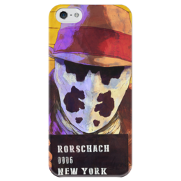 """Чехол для iPhone 5 глянцевый, с полной запечаткой """"Роршах"""" - комиксы, хранители, dc comics, watchmen, rorschach"""