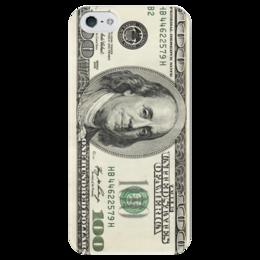 """Чехол для iPhone 5 глянцевый, с полной запечаткой """"100 dollars"""" - деньги, 100, доллар, 100 dollars"""