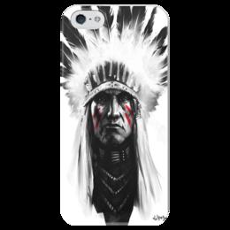 """Чехол для iPhone 5 глянцевый, с полной запечаткой """"TWAIDEL MRZ"""" - native american, индейц, вождь"""