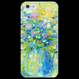 """Чехол для iPhone 5 глянцевый, с полной запечаткой """"Пробуждение"""" - живопись, букет, валерия меценатова, funny smile"""