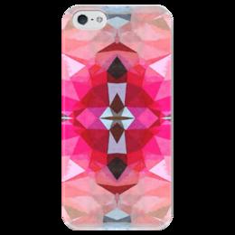 "Чехол для iPhone 5 глянцевый, с полной запечаткой ""Розовая бомба"" - бордовый, фуксия"