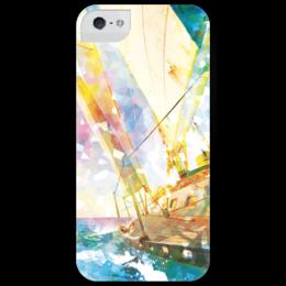 """Чехол для iPhone 5 глянцевый, с полной запечаткой """"Sailing"""" - лето, солнце, море, sun, волны, sea, ocean, яхта, парус, австралия"""