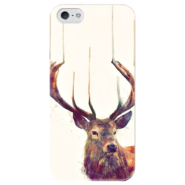 """Чехол для iPhone 5 глянцевый, с полной запечаткой """"олень """" - арт, олень, deer"""