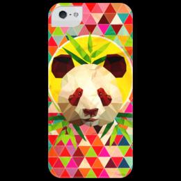 "Чехол для iPhone 5 глянцевый, с полной запечаткой ""Бомбуковая Панда"" - панда, panda, color, animal, bamboo, bright, бамбук"