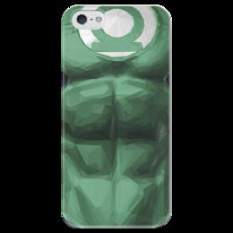 """Чехол для iPhone 5 глянцевый, с полной запечаткой """"Зеленый фонарь"""" - зеленый фонарь, комиксы, dc, dc comics, green lantern"""