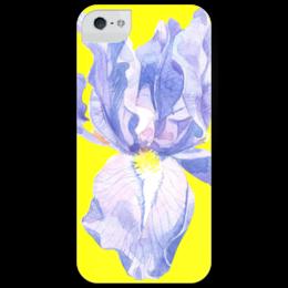 """Чехол для iPhone 5 глянцевый, с полной запечаткой """"ирис"""" - арт, flower, рисунок, фиолетовый, iris, yellow"""