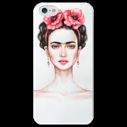 """Чехол для iPhone 5 глянцевый, с полной запечаткой """"Фрида"""" - портрет, фрида кало, фрида, художница, мексиканка"""