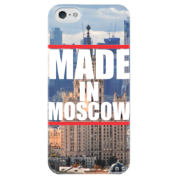 "Чехол для iPhone 5 глянцевый, с полной запечаткой ""Moscow "" - москва, moscow, город, made in moscow"