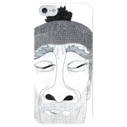 """Чехол для iPhone 5 глянцевый, с полной запечаткой """"борода"""" - man, мужчина, авторский, черно-белый, шапка, beard, ручка, ни у кого такого нет"""