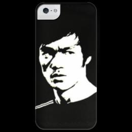 """Чехол для iPhone 5 глянцевый, с полной запечаткой """"Bruce black/white"""" - bruce lee, брюс, брюс ли, bruce, the invincible"""