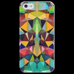 """Чехол для iPhone 5 глянцевый, с полной запечаткой """"Витражи собора"""" - бордовый, черный, красный, желтый, зеленый"""