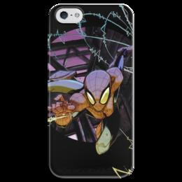"""Чехол для iPhone 5 глянцевый, с полной запечаткой """"Человек-паук (Spider-man)"""" - комиксы, spider man, марвел, человек-паук, питер паркер"""