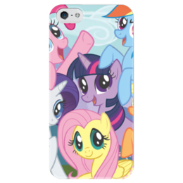 "Чехол для iPhone 5 глянцевый, с полной запечаткой ""My Little Pony"" - rainbow dash, my little pony, applejack, friendship is magic, twilight sparkle"