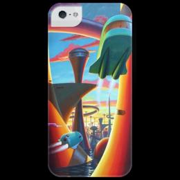 """Чехол для iPhone 5 глянцевый, с полной запечаткой """"Таинственный город"""" - future, city, будущее"""