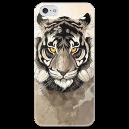 """Чехол для iPhone 5 глянцевый, с полной запечаткой """"Тигр """" - арт, tiger, тигр"""