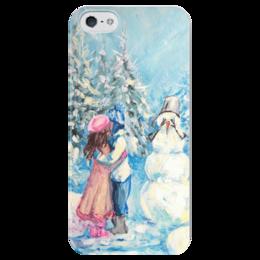 """Чехол для iPhone 5 глянцевый, с полной запечаткой """"Смущенный снеговик"""" - любовь, поцелуй, снеговик"""