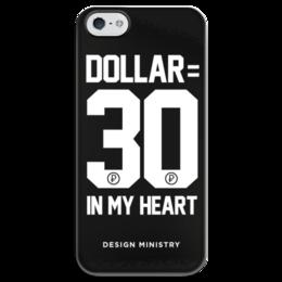 "Чехол для iPhone 5 глянцевый, с полной запечаткой ""DOLLAR 30 by DESIGN MINISTRY"" - россия, доллар, dollar, нефть, designministry"