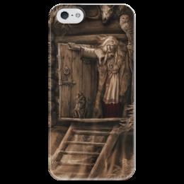 """Чехол для iPhone 5 глянцевый, с полной запечаткой """"Баба-Яга"""" - мифология, баба яга, русские сказки"""