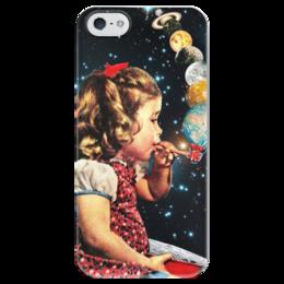 """Чехол для iPhone 5 глянцевый, с полной запечаткой """"Космос"""" - планета, космос, девочка, пузыри"""