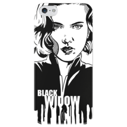 """Чехол для iPhone 5 глянцевый, с полной запечаткой """"Черная вдова"""" - комиксы, мстители, avengers, марвел, black widow"""