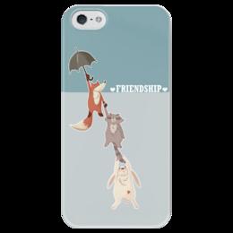 """Чехол для iPhone 5 глянцевый, с полной запечаткой """"Дружба"""" - заяц, дружба, лиса, енот, зонтик"""