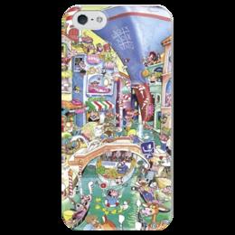 """Чехол для iPhone 5 глянцевый, с полной запечаткой """"Венеция"""" - италия, город, italy, city, венеция, venice, canals, каналы"""