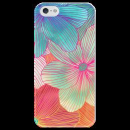"""Чехол для iPhone 5 глянцевый, с полной запечаткой """"Тропические Цветы"""" - цветы, природа, flowers"""