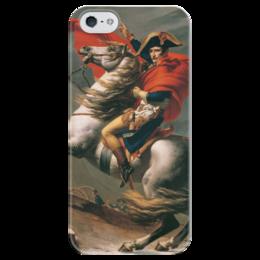"""Чехол для iPhone 5 глянцевый, с полной запечаткой """"Наполеон на перевале Сен-Бернар (Жак-Луи Давид)"""" - картина, давид"""