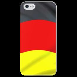 """Чехол для iPhone 5 глянцевый, с полной запечаткой """"Германия"""" - германия, germany, немецкий, флаг, deutsch"""