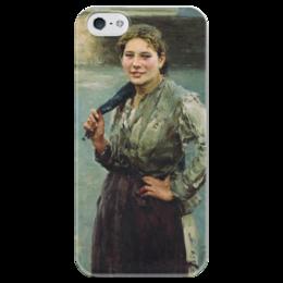"Чехол для iPhone 5 глянцевый, с полной запечаткой ""Шахтёрка"" - картина, касаткин"
